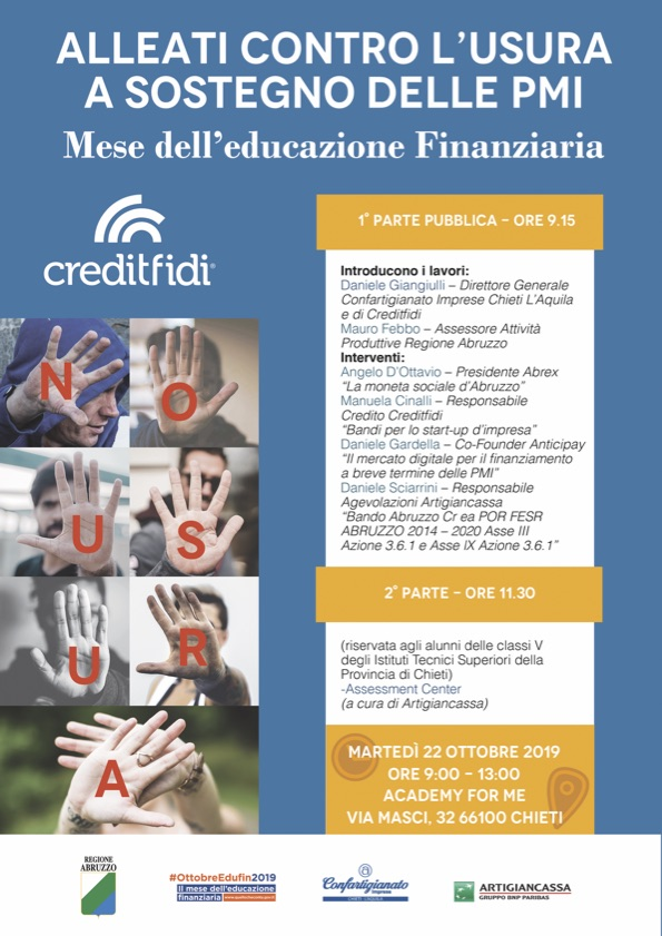 Mese dell'Educazione Finanziaria, il 22 ottobre a Chieti evento contro l'usura